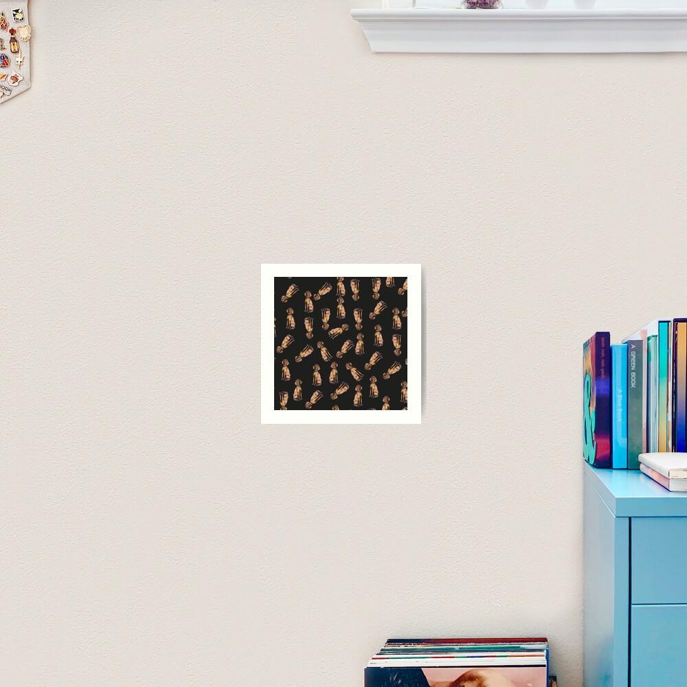 Dog Pattern 2 Black Art Print