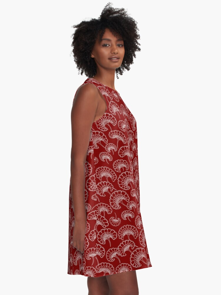 Alternate view of Red and White Marigold Pattern A-Line Dress