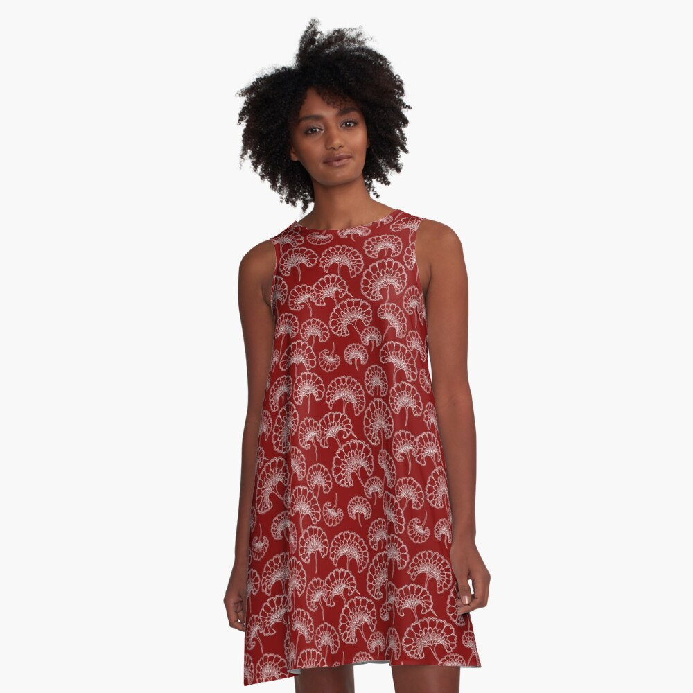 Red and White Marigold Pattern A-Line Dress