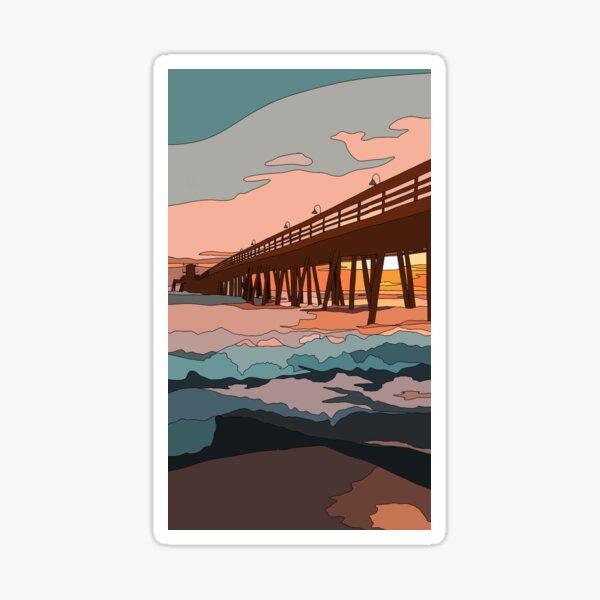 Blue and Pink Ocean Sunset Sticker