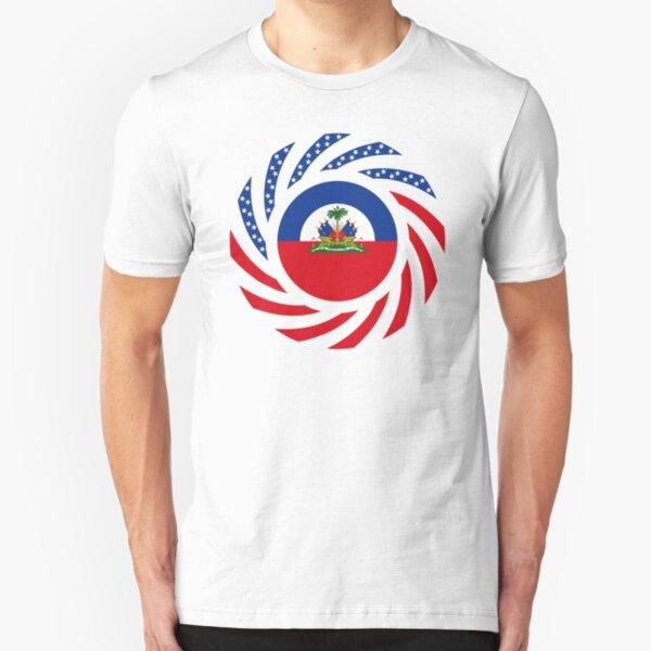 Haitian American Multinational Patriot Flag Series Slim Fit T-Shirt