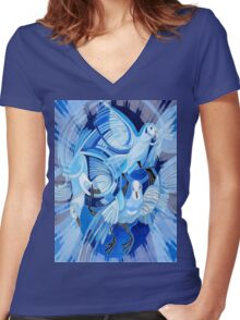 Muge's Pigeons in Blue Women's Fitted V-Neck T-Shirt