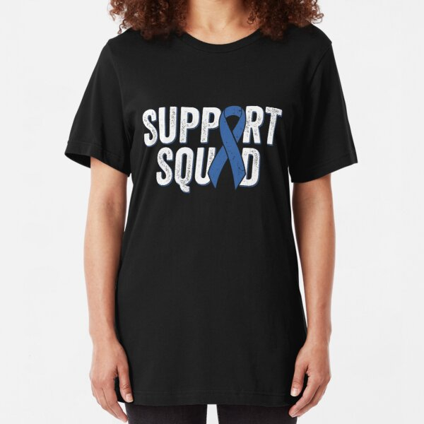 Colon Cancer Support Squad - Blue Colorectal Cancer Awareness Ribbon Slim Fit T-Shirt