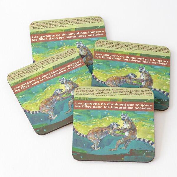 Défendre Son Territoire à Elle (Le Lémur Catta) Coasters (Set of 4)