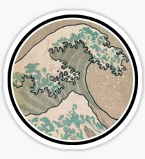 The great wave - Awesome Round design Sticker