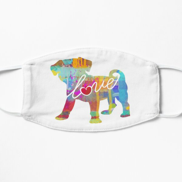 Puggle (Pug / Beagle) Love - A Bright and Colorful Watercolor Style Gift Mask
