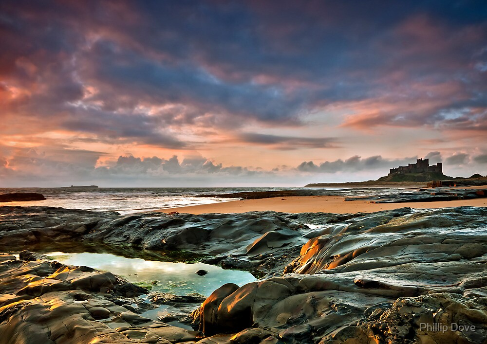 Dawn light at Bamburgh by Phillip Dove