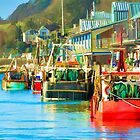 Colourful Fishing Boats at Looe Harbour by maryloufletcher