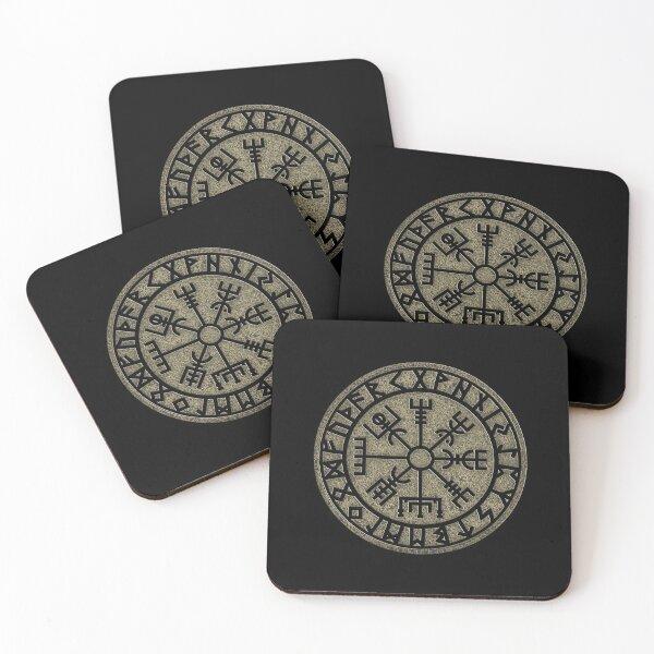 Vegvisir, viking compass, Norse, symbol, protection, nordic, vikings Coasters (Set of 4)