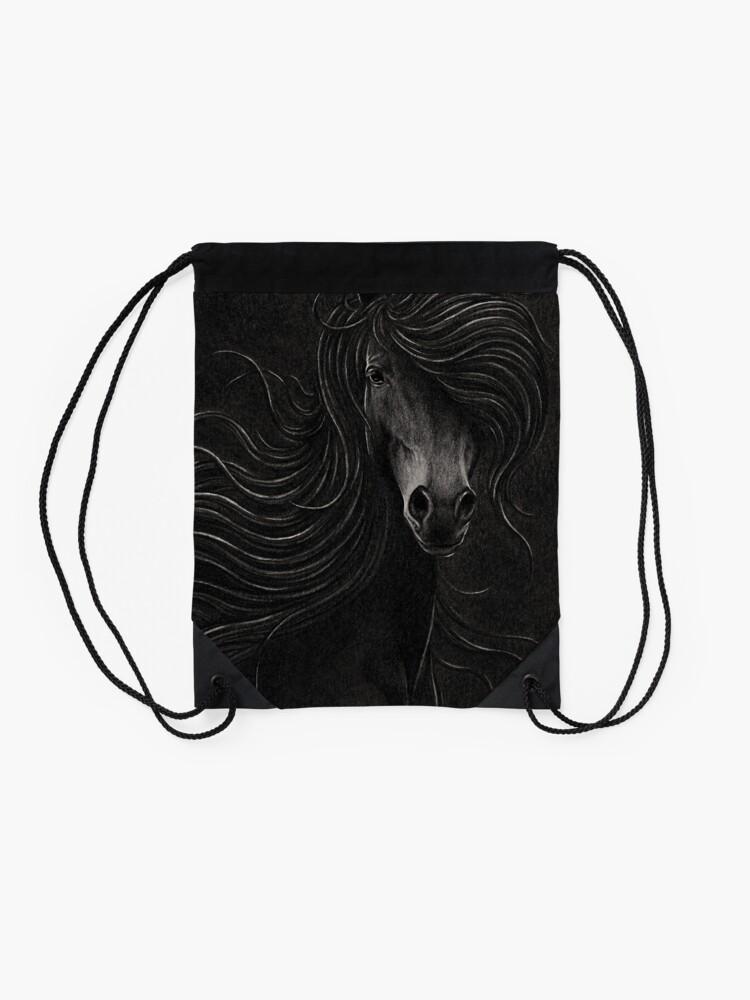 Alternate view of Night Horse Drawstring Bag