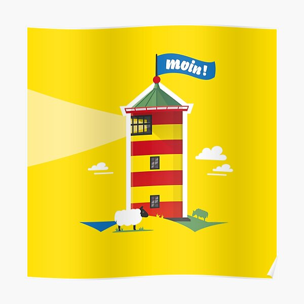 Hello! Lighthouse yellow Poster