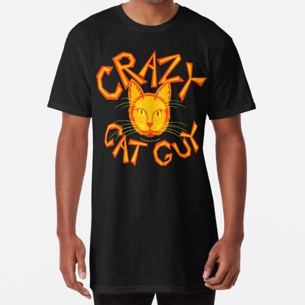 Crazy Cat Guy In Orange Cat Lover Design Long T-Shirt