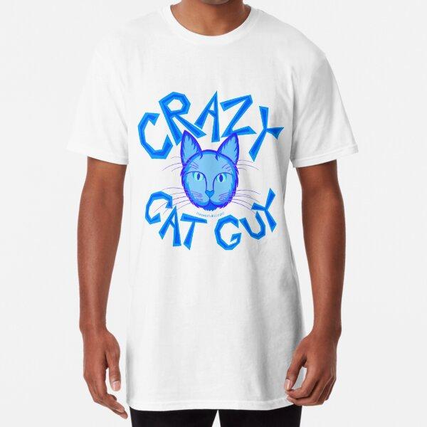 Crazy Cat Guy Funny Blue Cartoon Cat Lover Design Long T-Shirt