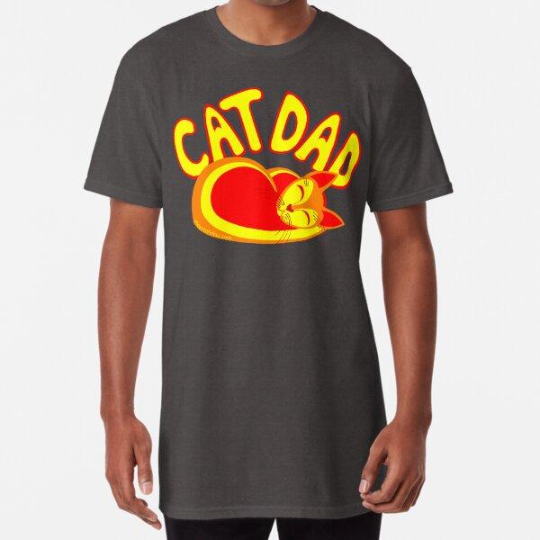 Cat Dad Orange Yellow Red Cute Cat Lover Design Long T-Shirt