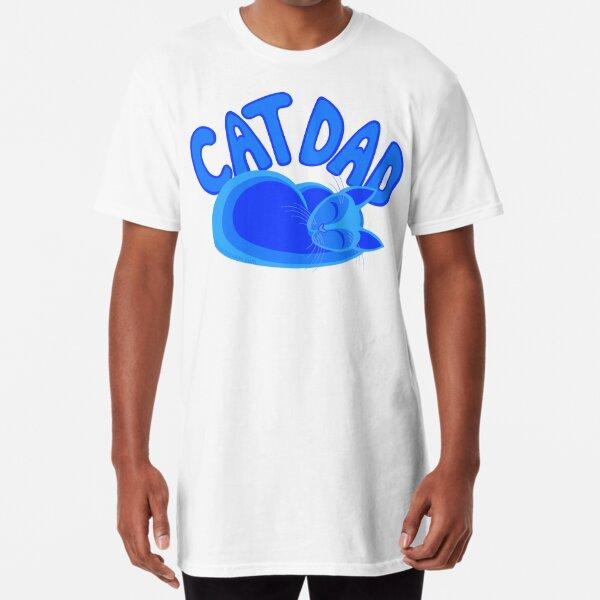 Cat Dad Blue Funny Cat Lover Design Long T-Shirt