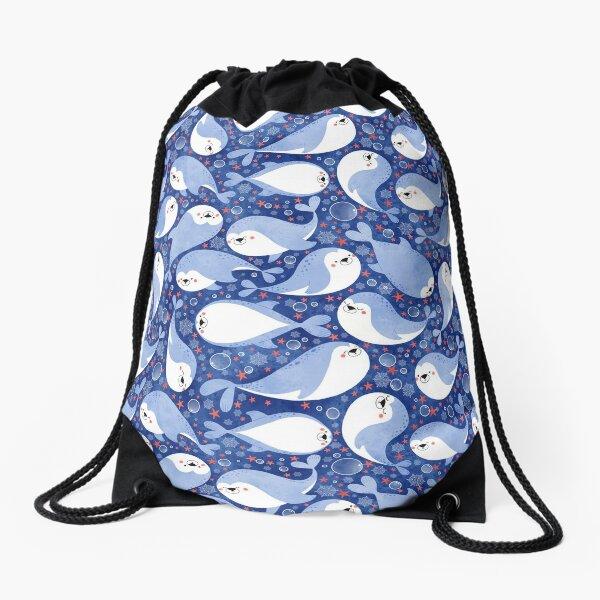 swimming seals  Drawstring Bag