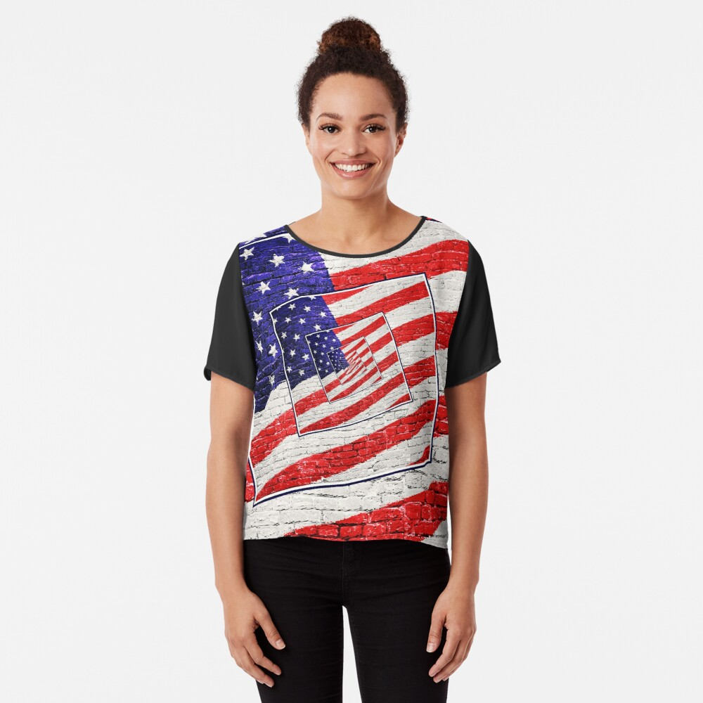 Patriotic American Flag Abstract Chiffon Top