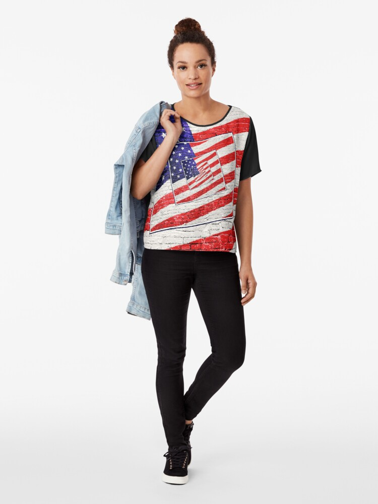 Alternate view of Patriotic American Flag Abstract Chiffon Top