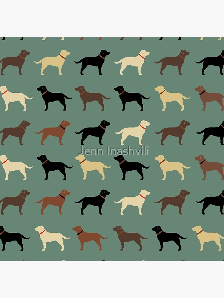 Labrador Retriever Dog Silhouettes Pattern with Chocolate, Yellow, Red and Black Labs by ShortCoffee