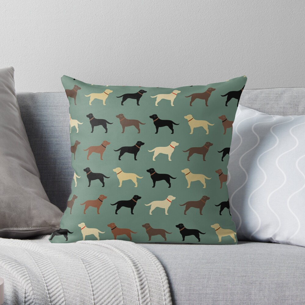 Labrador Retriever Dog Silhouettes Pattern with Chocolate, Yellow, Red and Black Labs Throw Pillow
