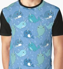 Narwhal Pattern Graphic T-Shirt