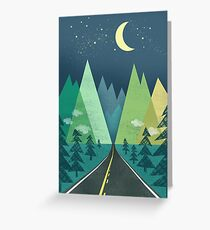 the Long Road at Night Greeting Card