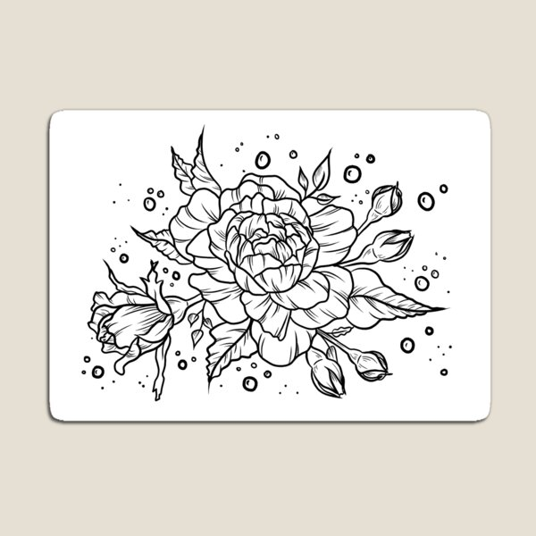 Roses and Bubbles Magnet
