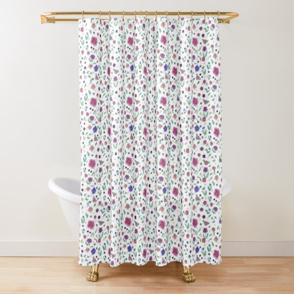 Spring Colors Watercolor Floral Shower Curtain