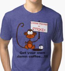 Coffee Monkey on STRIKE!! - Sticker Tri-blend T-Shirt