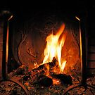 Log fire in chimney by Sami Sarkis