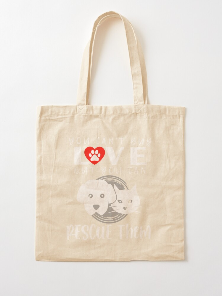 Embroidered You Can/'t Buy Love But You Can Rescue It Dog Tote Bag Embroidered Dog Tote Bag Rescue Dog Tote Bag Dog Tote Bag Dog Gifts