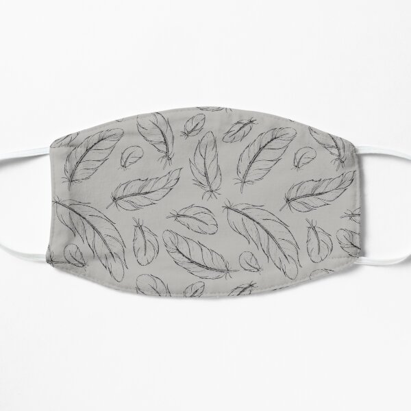 Parrot Feather All-over print (black on grey) Mask
