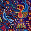 Huichol Art: Yarn glewed on a wooden Panel; Hilo pegado en una Placa de Madera by PtoVallartaMex