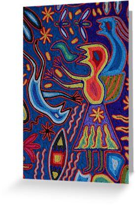 Huichol Art: Yarn glewed on a wooden Panel; Hilo pegado en una Placa de Madera by PtoVallartaMex