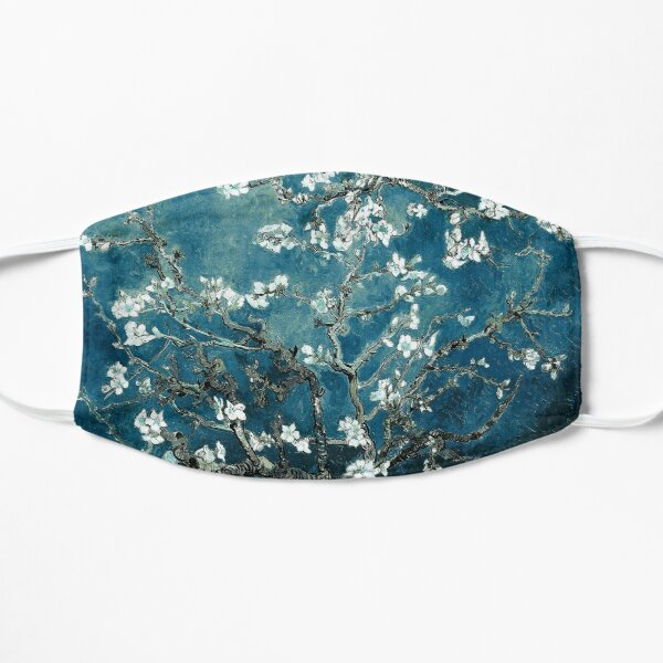 Van Gogh Almond Blossoms Dark Teal Flat Mask