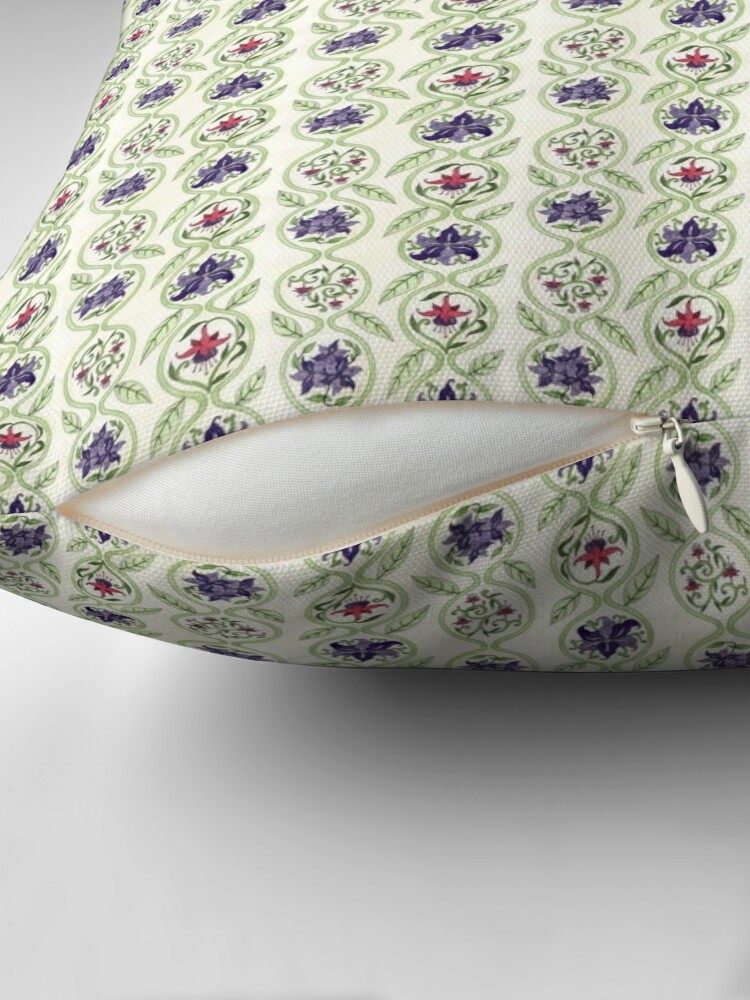 Alternate view of Antique Floral Wallpaper Pattern II Throw Pillow