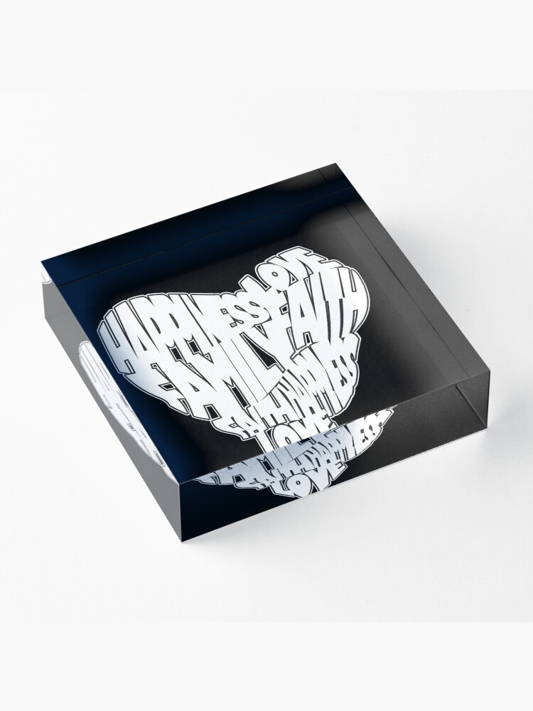 Alternate view of Faith, Love, Family, Happiness Heart Design 2 Acrylic Block