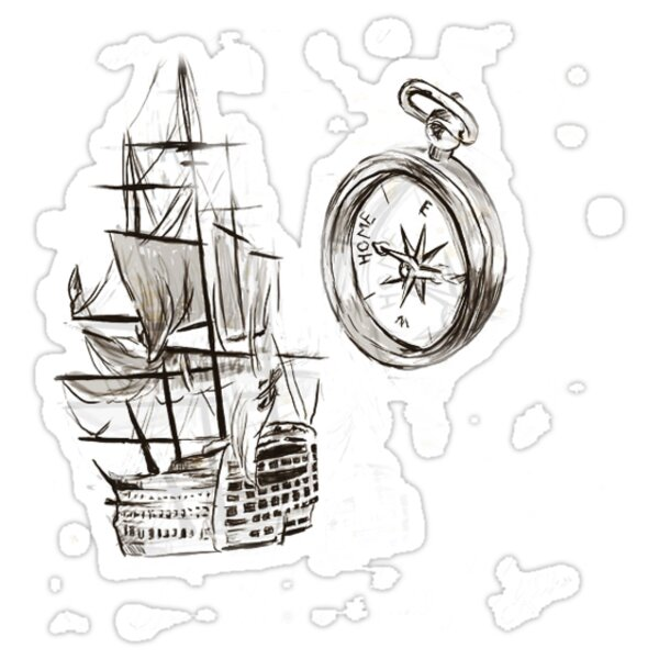 Quot Ship And Compass Larry Quot Stickers By Lwtshannahh Redbubble