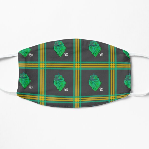 Teal and Green Iguana Plaid Mask