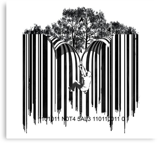 UNZIP THE CODE barcode graffiti print illustration by SFDesignstudio