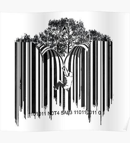 UNZIP THE CODE barcode graffiti print illustration Poster