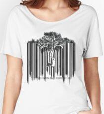 UNZIP THE CODE barcode graffiti print illustration Women's Relaxed Fit T-Shirt