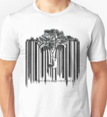 UNZIP THE CODE barcode graffiti print illustration Slim Fit T-Shirt