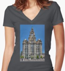 The Liver Building - Liverpool Women's Fitted V-Neck T-Shirt