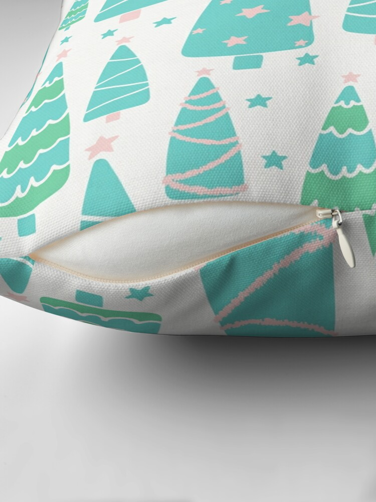 Alternate view of Pastel Christmas Tree Forest Throw Pillow