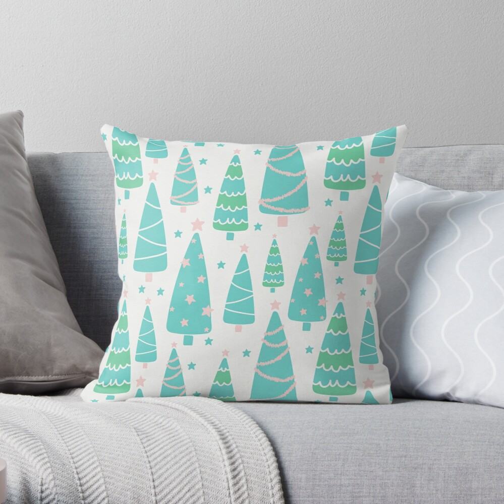 Pastel Christmas Tree Forest Throw Pillow
