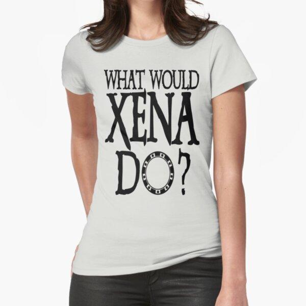 WHAT WOULD XENA Do? Xena Warrior Princess Dark Chakram Gabrielle Version 2 Fitted T-Shirt