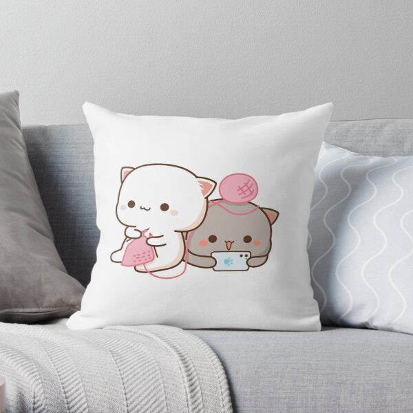 Peach and Goma Mochi Cat Knitting Throw Pillow
