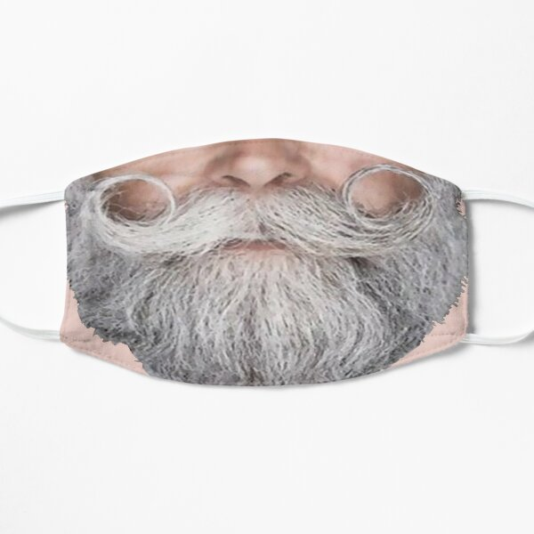 Funny face mask curly gray mustache by NICHEPRINTSNYC Mask