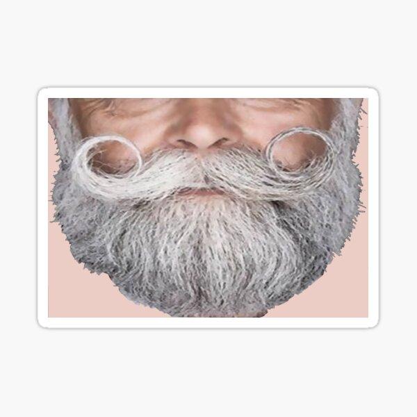 Funny face mask curly gray mustache by NICHEPRINTSNYC Sticker
